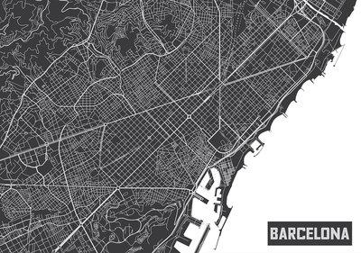 Barcelona Map Photo Wall Mural 12745P8