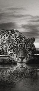 Creeping Jaguar in Black and White Door Mural Photo Wallpaper 218VET